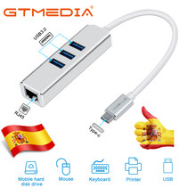 Adaptateur USB Ethernet, 3.1 c / ma 3USB 3.0 + RJ45 Hub 10/100 / 1000M, adaptateur pour MacBook XIAOMI Samsung Windows Huawei