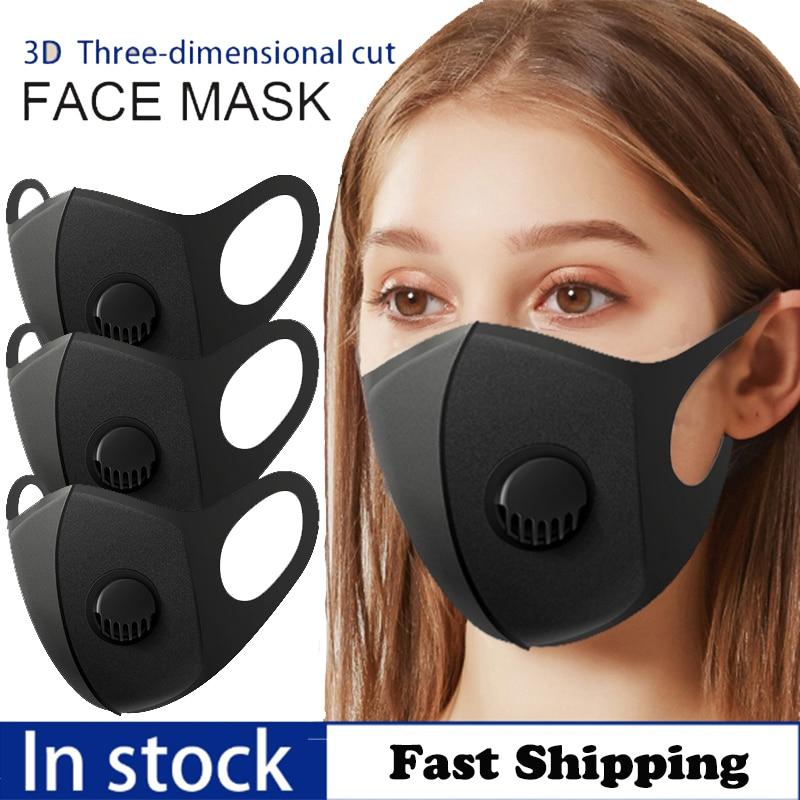1/3/10pcs Black Unisex Sponge Breathable Valve Mask PM2.5 Dust Anti-pollution Mask Washed Reusable Respirator Protective Mask
