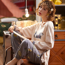 Pajamas Trousers Long-Sleeves Cotton Home Autumn Spring with Leisure Daily Bathing Two-Piece-Set
