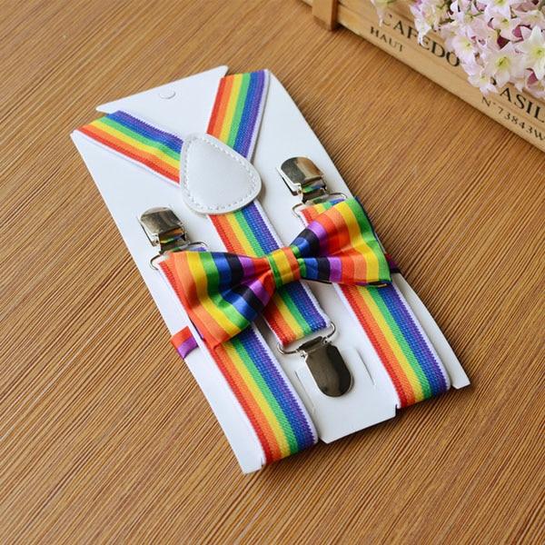 Elastic Children Suspenders Set Bow Tie Bow Tie Set Rainbow Baby Kids Y-Back Adjustable Suspenders Set