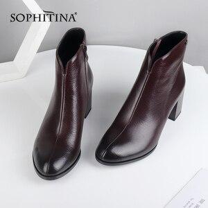 Image 3 - Sophitina moda design especial novas botas de alta qualidade couro genuíno confortável salto quadrado sapatos femininos ankle boots pc374