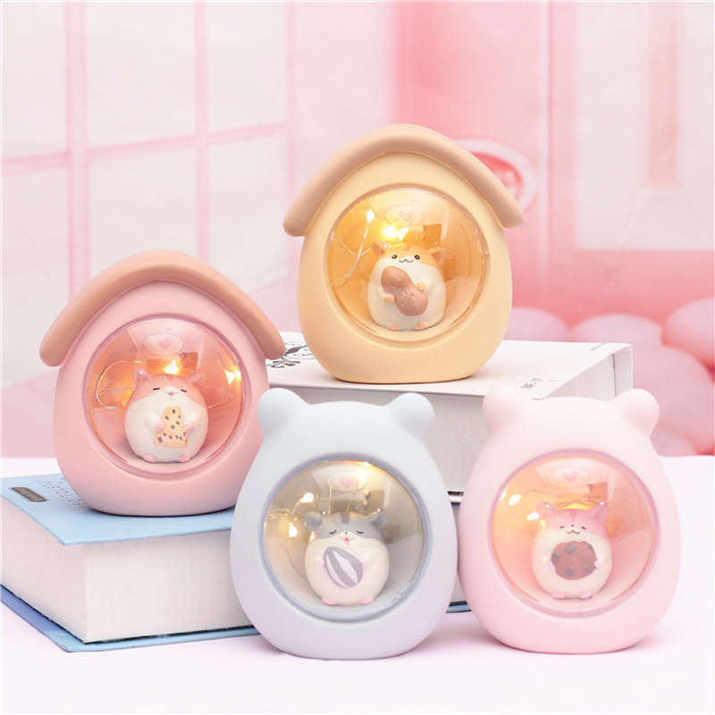 Resin Hamster Star Night Light Bedside Lamps Home Bedroom Decor Lights Children Baby Kids Birthday Christmas Gift