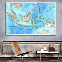A2 Size 1996 Edition Indonesia Map HD Fine Canvas Painting For Bedroom Living Room Wall Decor painting frameless for living room wall decor drawing bald eagle fly diy oil coloring pictures by numbers on linen canvas