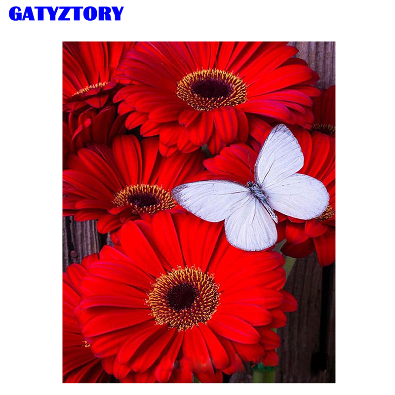 GATYZTORY Framed DIY Painting By Numbers Flowers Butterfly Kit Canvas Picture Paint By Numbers Wall Art Craft For Home Decor