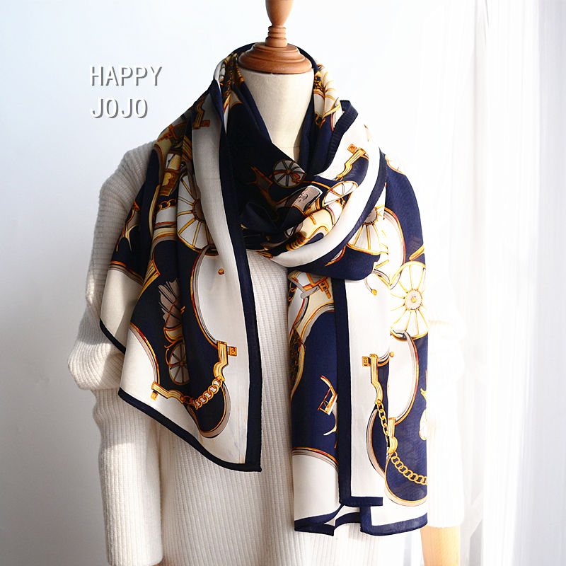 Hangzhou luxury 100% natural silk printed long navy blue scarf for women real silk wrap shawl bandana high quality gift for lady|Women's Scarves| - AliExpress