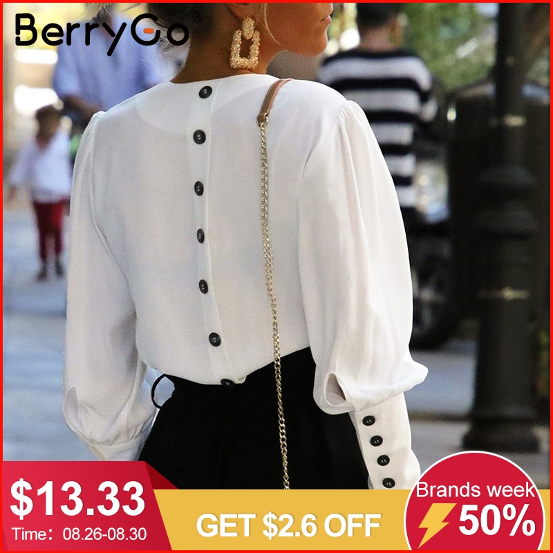 Berrygo Women Blouse Shirt Tops Button Puff-Sleeve Spring Streetwear White Elegant Office Lady