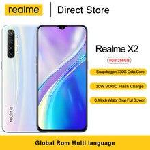 Мобильный телефон Realme X2, 8 Гб ОЗУ 256 Гб ПЗУ, 6,4 дюйма, Восьмиядерный процессор Snapdragon 730G, задняя камера 64 мп, 4000 мА батарея мобильного телефона