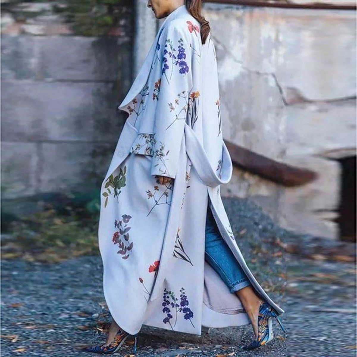 2019 Autumn Casual   Trench   Coat Women Pattern Long Coat Outwear Floral Print Loose Fashion   Trench   Coat