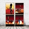 Настенный плакат с принтом восхода солнца на холсте, современная абстрактная картина для африканской женщины, модульные картины для домашн...