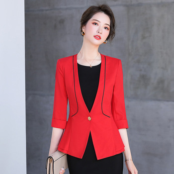 2020 new professional ladies blazer Spring and summer casual slim womens jacket High quality interview small suit high