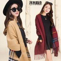 European and American cashmere plaid cloak shawl generation hair ladies winter thick warm tassel knit scarf shawl A5
