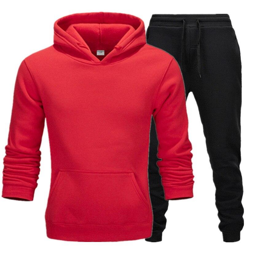Autumn 2PCS Tracksuit Men Casual Patchwork Sportwear Set Printing Hoodies Sweatshirt Sweatpants Male Joggers Hoody Suits 3XL