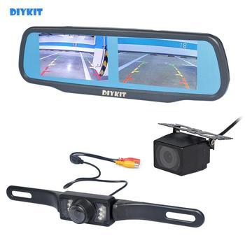 DIYKIT Dual 4.3 inch Screen Rearview Car Mirror Monitor + Waterproof IR Night Vision Car Rear View Reverse Backup Car Camera