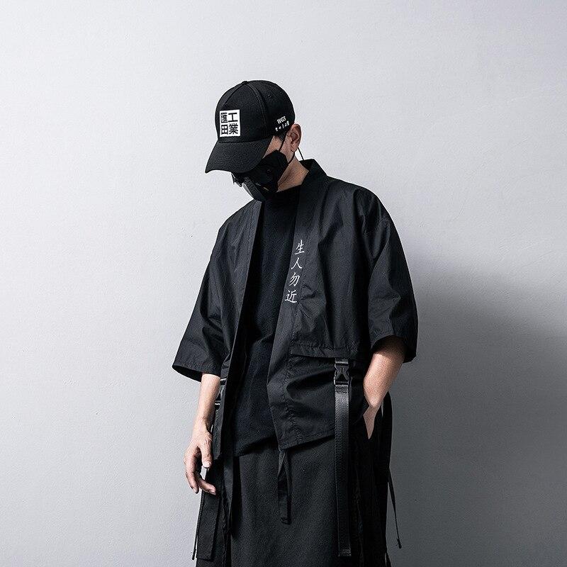 0569 Streetwear Kimono Jacket Men Thin White Black Cardigan Hip Hop Jacket Windbreaker Loose Ribbons Embroidery Cotton Linen in Jackets from Men 39 s Clothing