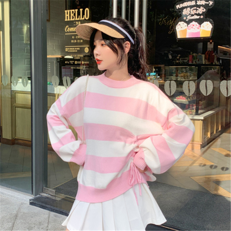 Stripe Popular Fashion All Match Pull Femme O-Neck Knitted Sweater Pullover Autumn Knitwear Sueter Mujer Long Sleeve Winter