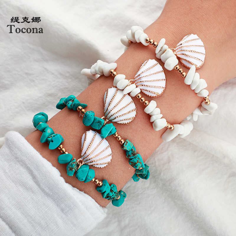 Tocona Bohemian Nutural Stone Bracelets for Women Sea Scallop Shell Gold Bead Handmade Summer Jewelry Drop Shipping 8602