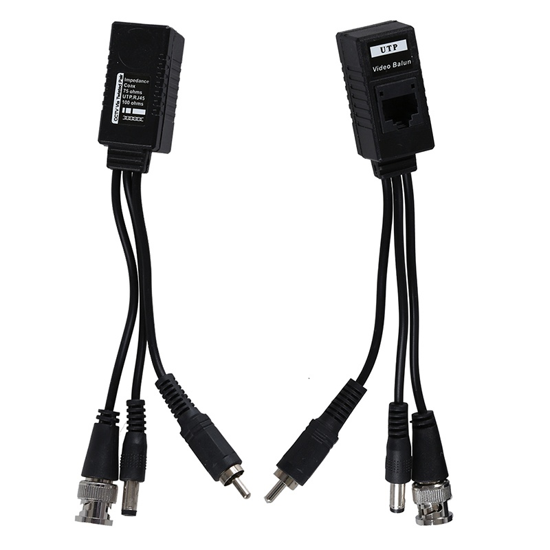 1 Pair 3 In 1 Plug BNC Male To RJ45 Audio Video Power Balun Transceiver For CCTV Camera
