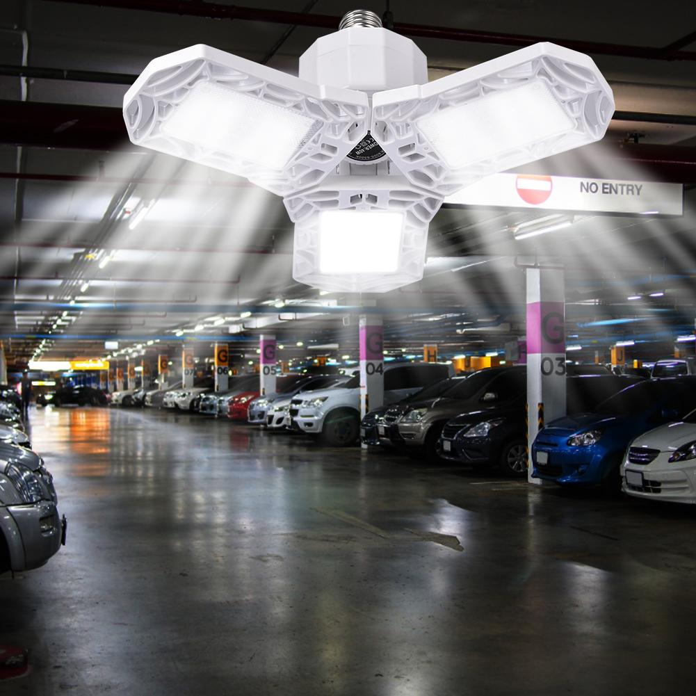 60W/6000LM LED Garage Light Deformable Three Blade Foldable Lamp Waterproof Lamp For Gymnasiums Stages Warehouses Energy Saving