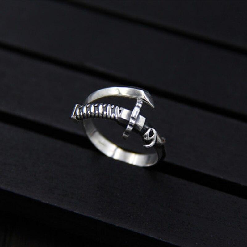 Silver 925 Jewelry Retro Ring and Sword Patterns Thai Silver Ring Individual Samurai Sword Thai Silver Men and Women Rings in Rings from Jewelry Accessories