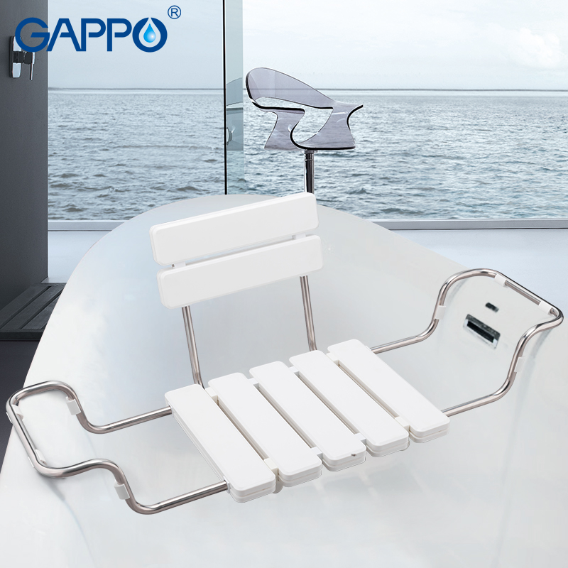 GAPPO Multi-type Wall Mounted Shower Seats Bath Bench Shower Folding Chair Shower Chairs Bathroom Tools Wood Bench