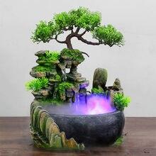 Riqueza feng shui empresa escritório mesa ornamentos de mesa fluxo água cachoeira fonte com mudança de cor luzes led spray