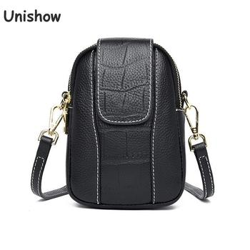 Brand Design Genuine Leather Crossbody Bag For Women Small Phone Purse Shoulder Bags Crocodile Pattern Mini Women Leather Bag cute women s crossbody bag with tassels and smile pattern design