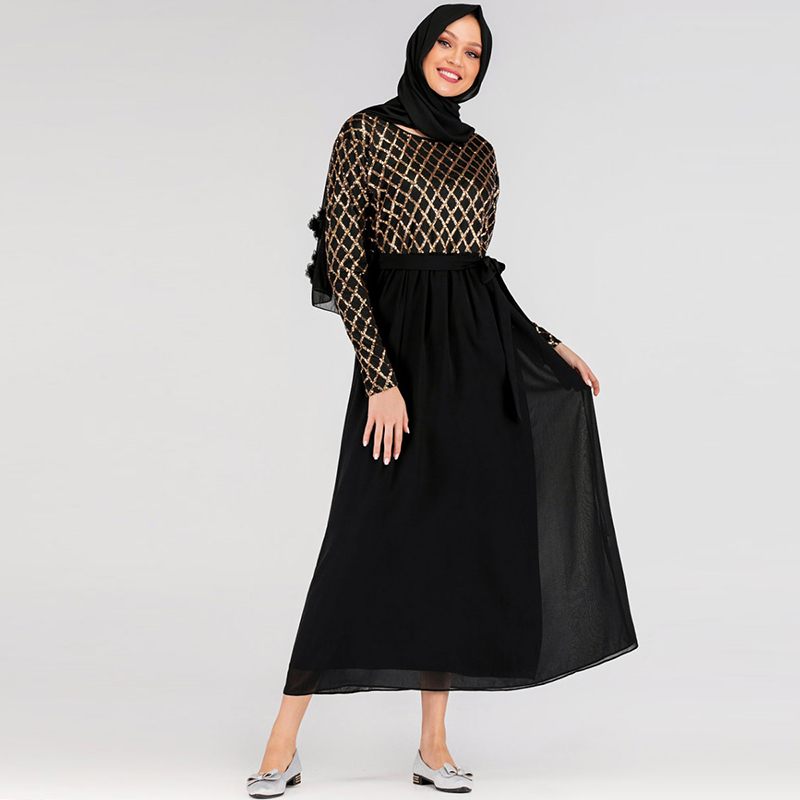 Hijab Muslim Dress Sequin Abaya Dubai Turkish Dresses Islam Caftan Marocain Kaftan Qatar Omani Islamic Clothing Abayas For Women