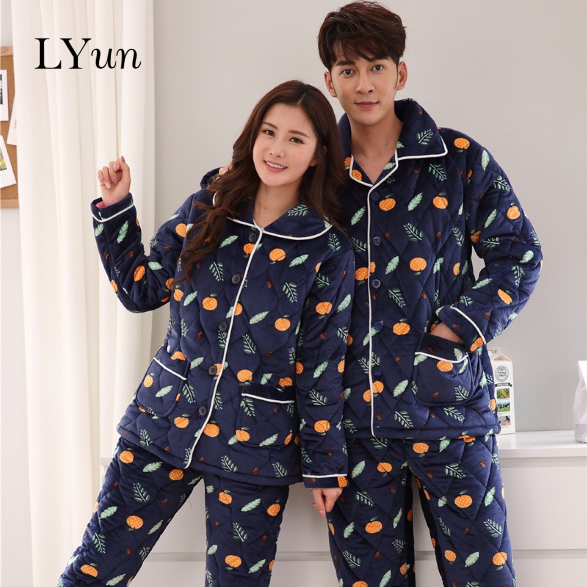 LYun Couple Pajamas Supporting Thick Flannel Pajamas Men's Winter Coral Fleece Lapel Pajamas Women Warm Sleep Suit Color2019new