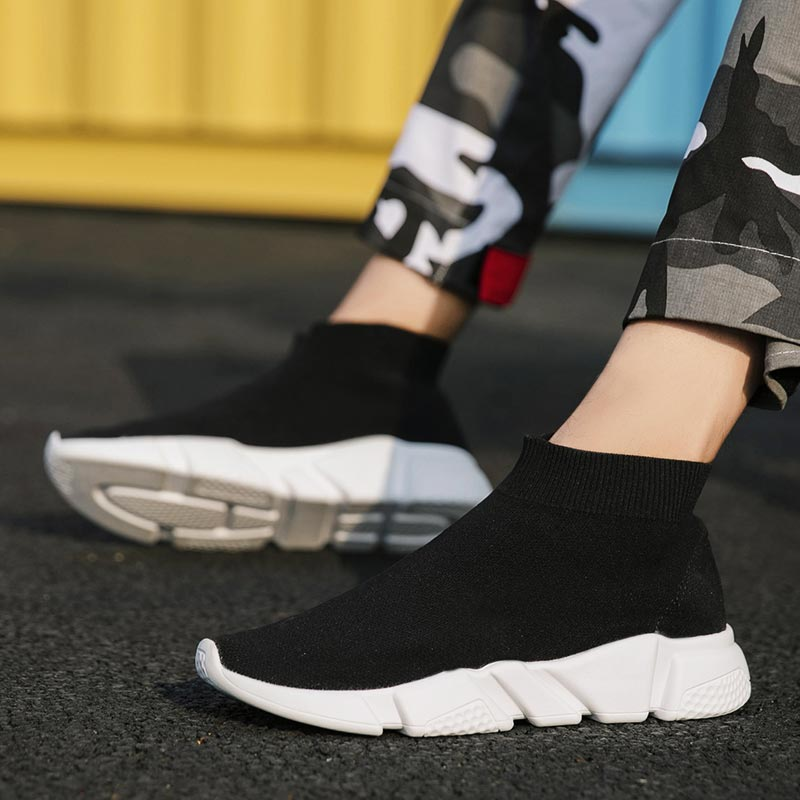 Large Size High Top Socks Sneakers Mens Running Shoes Women Sports Shoes For Male Summer Men's Sport Shoes Black Trainers E-246