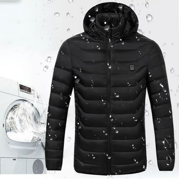 Fashion Intelligent Heating Cotton Clothing Winter Back Belly Hooded Electric Heating Coat Couple Professional Fashion