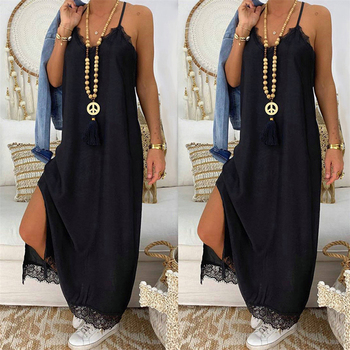 2020 Women Summer Loose Long Dress Sexy Sling V-Neck Sleeveless Ankle-Length Dress Lace Decor Hign Slit Dress Solid Color Dress ladylike style solid color scoop neck lace long sleeves slimming burnt out dress for women