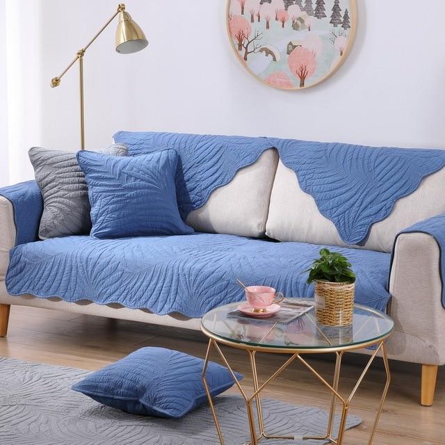 Фото комбинированный чехол для дивана из хлопковой ткани на все сезоны цена