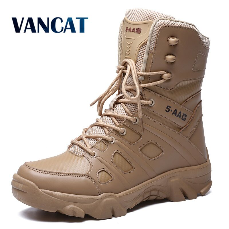 Military Tactical Mens Boots Special Force Leather Waterproof Desert Combat Ankle Boot Army Work Men's Shoes Plus Size 39-47