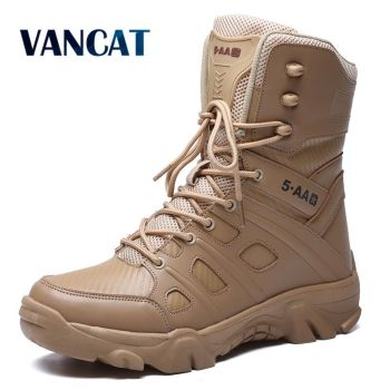 Military Tactical Mens Boots Special Force Leather Waterproof Desert Combat Ankle Boot Army Work Men's Shoes Plus Size 39-47 vast wave suede army boot canvas men s military boot male shoes safety motocycle boots combat mens soldier ankle boot tactical 2