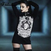 Fitshinling Hip Pop Goth Dark Female Long T-Shirt Streetwear Gothic Grunge Print T-Shirts Tops Women Black BF Style T Shirt Sale