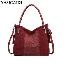YASICAIDI Casual กระเป๋าถือสุภาพสตรีกระเป๋าหนัง PU กระเป๋าหนัง Satchel Crossbody กระเป๋าสะพายกระเป๋าผู้หญิง Messenger กระเป๋า SAC A หลัก Femme