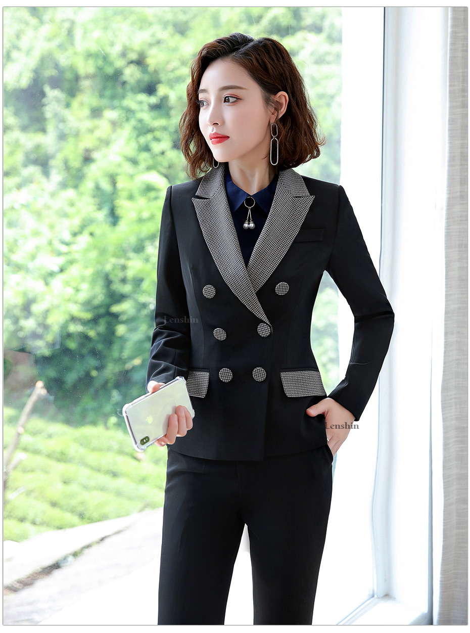 Lenshin High-quality 2 Piece Set Houndstooth Formal Pant Suit Blazer Office Lady Design Women Soft Jacket and Full-Length Pant 37