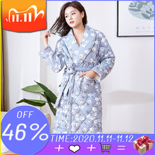 Bata de dormir de algodón con estampado Floral para mujer, bata de dormir de manga larga, lencería, Kimono de noche, túnicas femeninas, albornoz cálido de talla grande