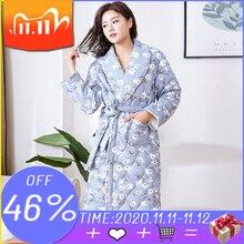 Mùa Đông Mới Áo Dây Housecoat Tay Dài Họa Tiết Hoa Cotton Đồ Ngủ Quần Lót Nighty Kimono Nữ Áo Choàng Ấm Plus Size Nữ Áo Choàng Tắm
