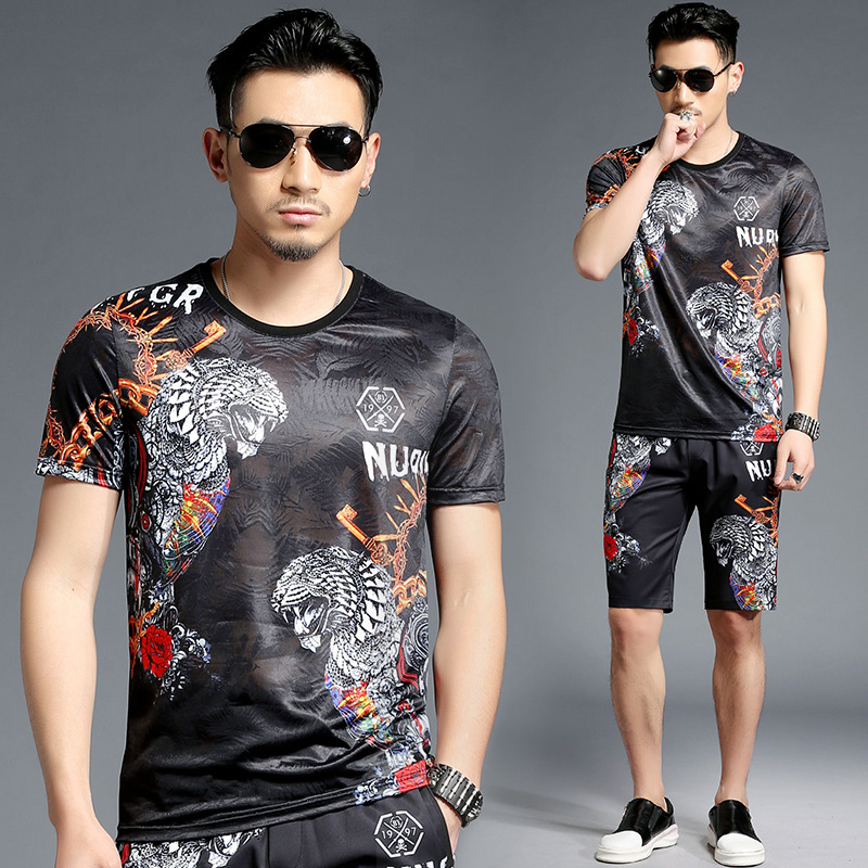 Tao Bai Ye Summer Men's Casual Set Western Style Popular Brand Short Sleeve T-shirt Shorts Two-Piece Set T15006/K5006