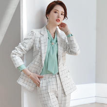 Plaid Pant Suit for Women Winter Fashion Costume Femme Long-Sleeved Tweed Jacket