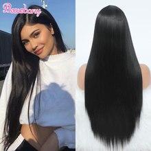 Beauebony-peluca sintética de malla con división para mujeres negras, de color negro cabellera larga, lisa, resistente al calor, para Cosplay