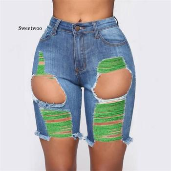 Hot sale summer woman shorts jeans trendy ripped skinny denim sexy slim S-3XL