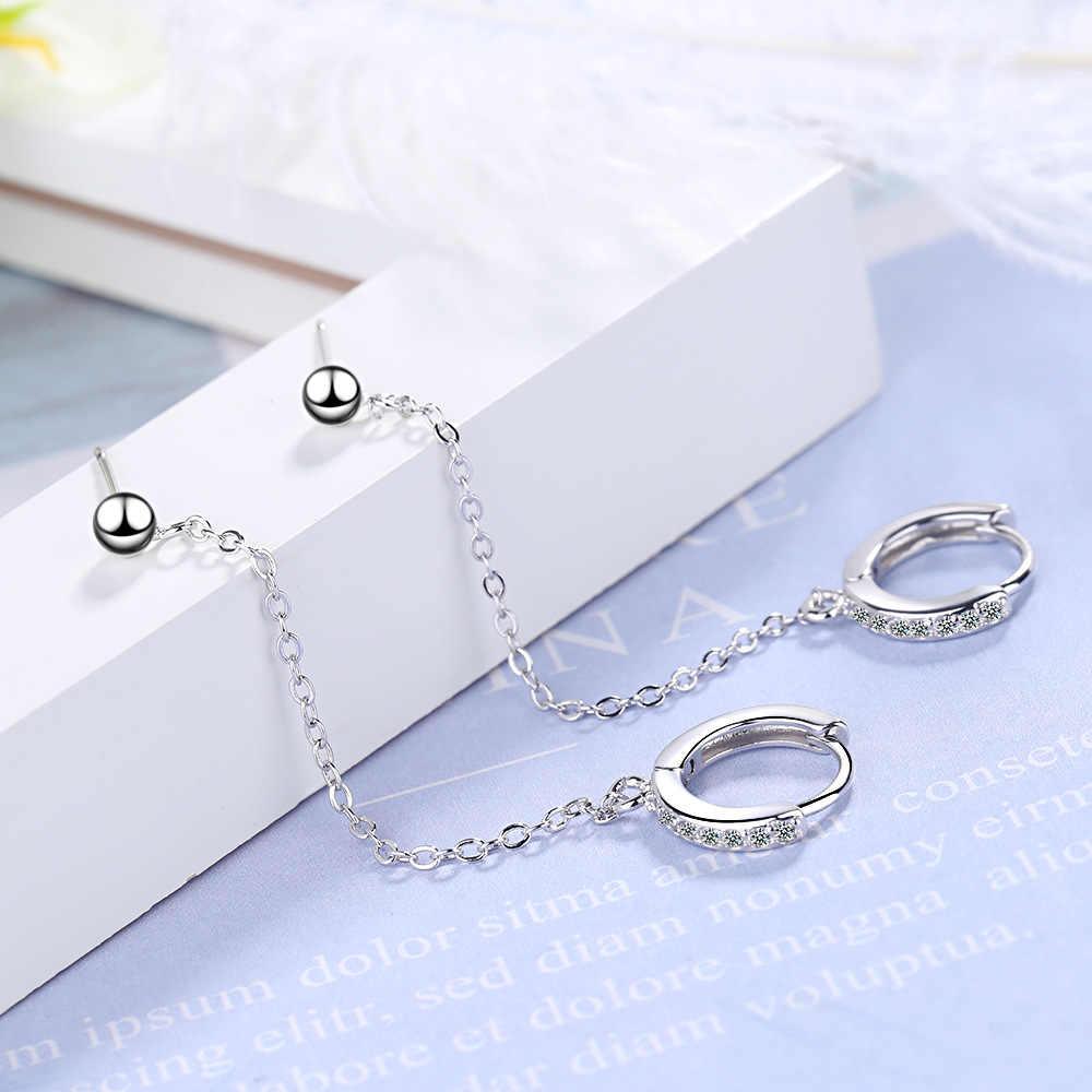 1 PCS 925 Sterling Silber Nach Der Ohr Kette Quaste Runde Ohrringe Für Frauen Weihnachten pendientes aretes de mujer EH745