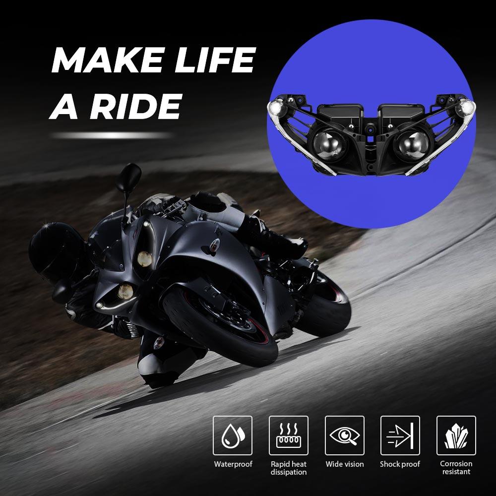 KEMiMOTO Headlight Lamp For Yamaha YZF R1 YZF R1 2012 2013 2014 Head Light Housing Clear Motorcycle Accessorieshousing   -