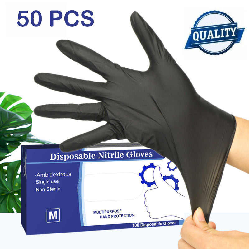 Vinyl Gloves 100pcs/lot Mechanic Gloves Nitrile Gloves Household Cleaning Washing Black Laboratory Nail Art Anti-Static Gloves