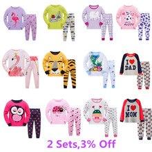 Детские повседневные пижамы, комплект одежды для мальчиков и девочек, комплект одежды для сна с героями мультфильмов, Детские хлопковые Пижамные комплекты из 2 предметов: футболка с длинными рукавами+ штаны