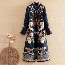 Embro mill elegant lady Top high-end outerwear autumn embroidery Retro women vintage Plus Size