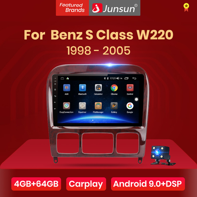 Junsun v1 4g + 64g android 9.0 dsp para mercedes benz s classe w220 s280 s320 s350 s400 s430 s500 s600 1998 2005 rádio do carro gps dvd