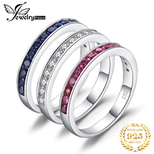 JewelryPalace three stack 1.8ct Round Created Ruby Sapphire Wedding Cocktail Band Eternity Ring 925 Sterling Silver Fine Jewelry